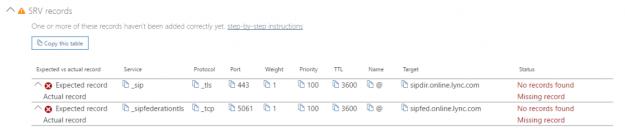 Office 365 SRV records