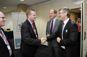 Bell Gully chairman Roger Partridge, Dr Oliver Marc Hartwich, former NZ Labour leader David Shearer, Labour finance spokesman David Parker (March 2013)