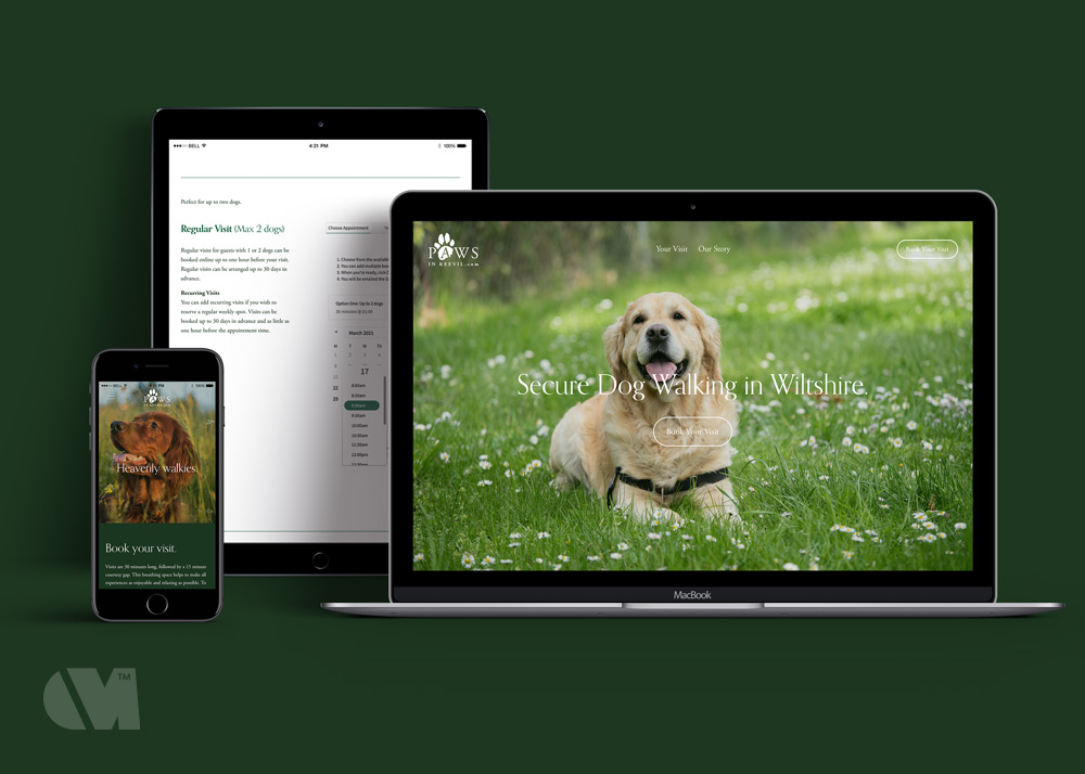 Squarespace website layout for Paws in Keevil