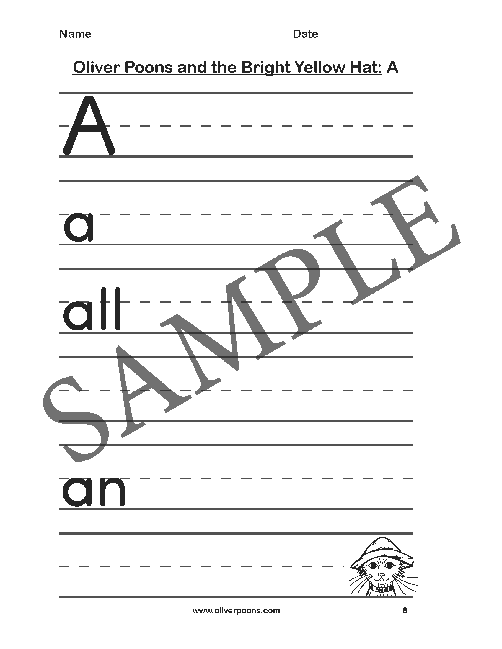 Oliver Poons And The Bright Yellow Hat Worksheets And Activities Pre K Through Grade 2