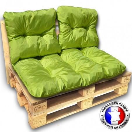 kit complet 3 coussins palette impermeable vert 1 assise 2 dossiers 120x80 cm