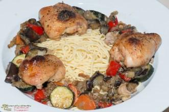 Auberginen-Spaghetti mit Pollo fino