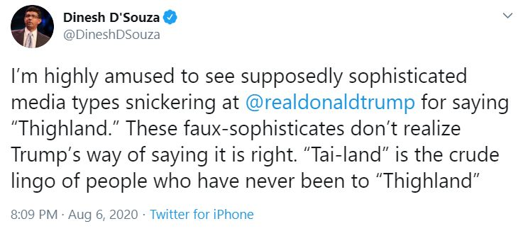 Dinesh D'Souza's Wrong Thailand Tweet