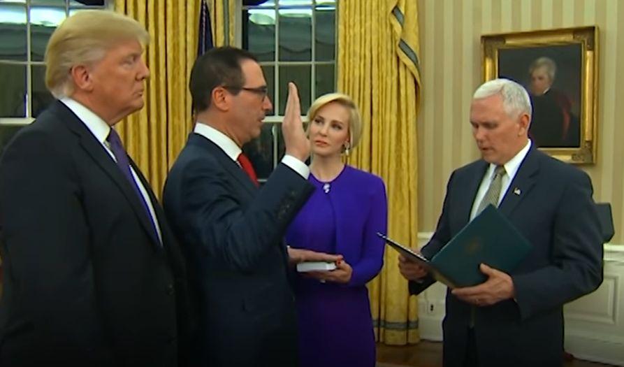 Steven Mnuchin being sworn in as Treasury Secretary