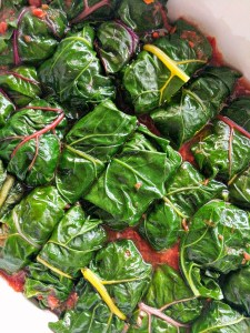 Greek rainbow silverbeet chard dolmades with Mince, herbs and rice Recipe