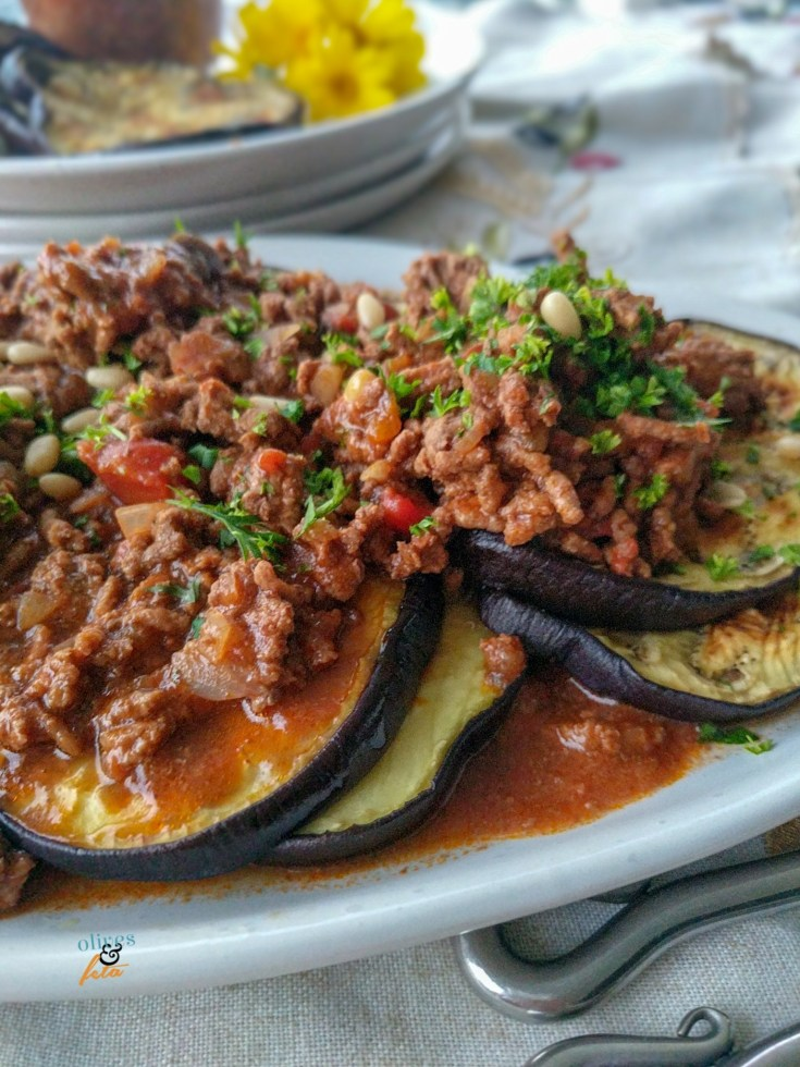 Healthy Grilled Eggplant Layered and Stacked with Herbed Ground Beef | A Quick mid-week meal