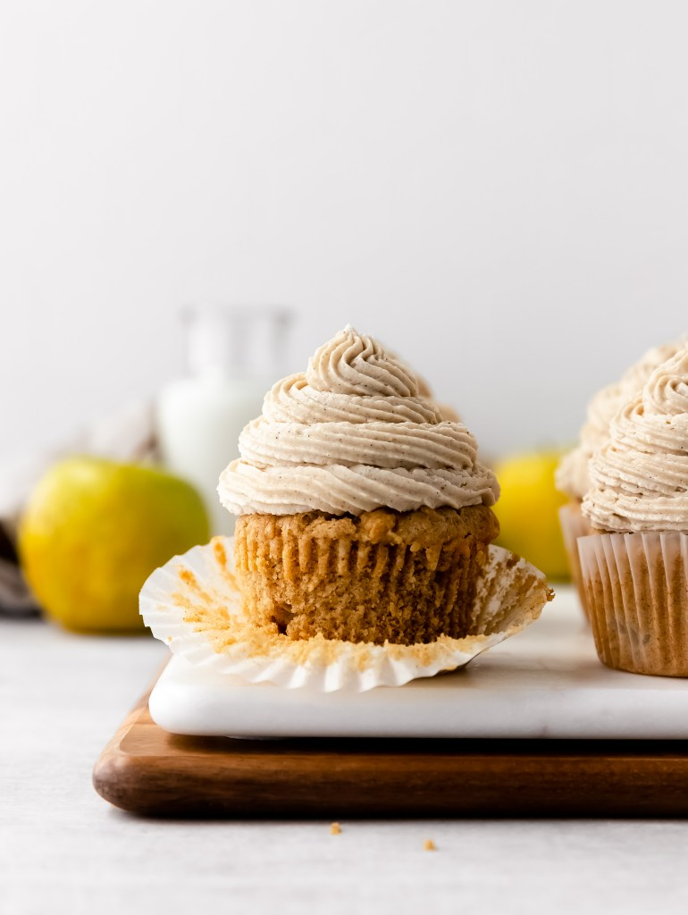 chai spice apple cupcakes with tahini butter cream