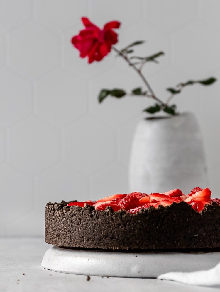 rose water strawberry black cocoa tart