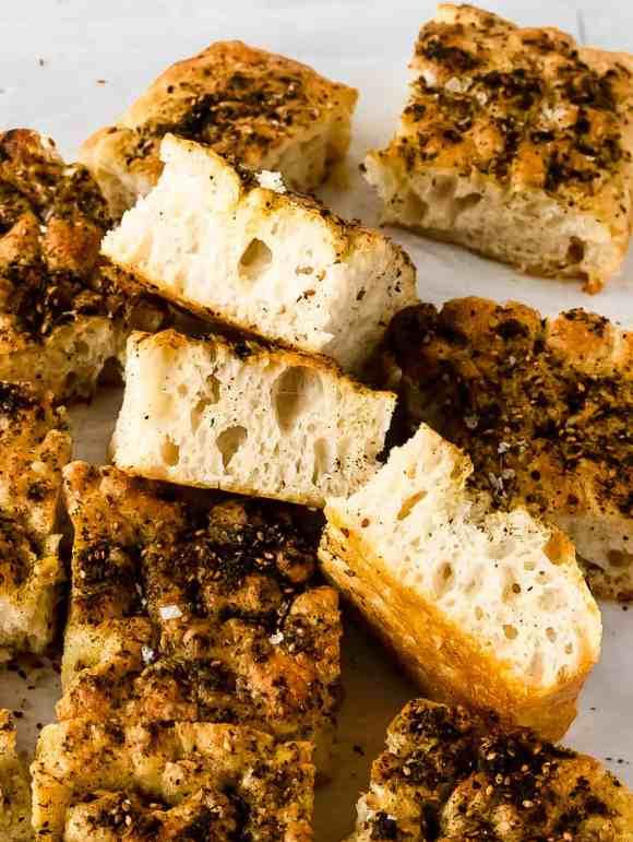 easy no-knead za'atar focaccia bread