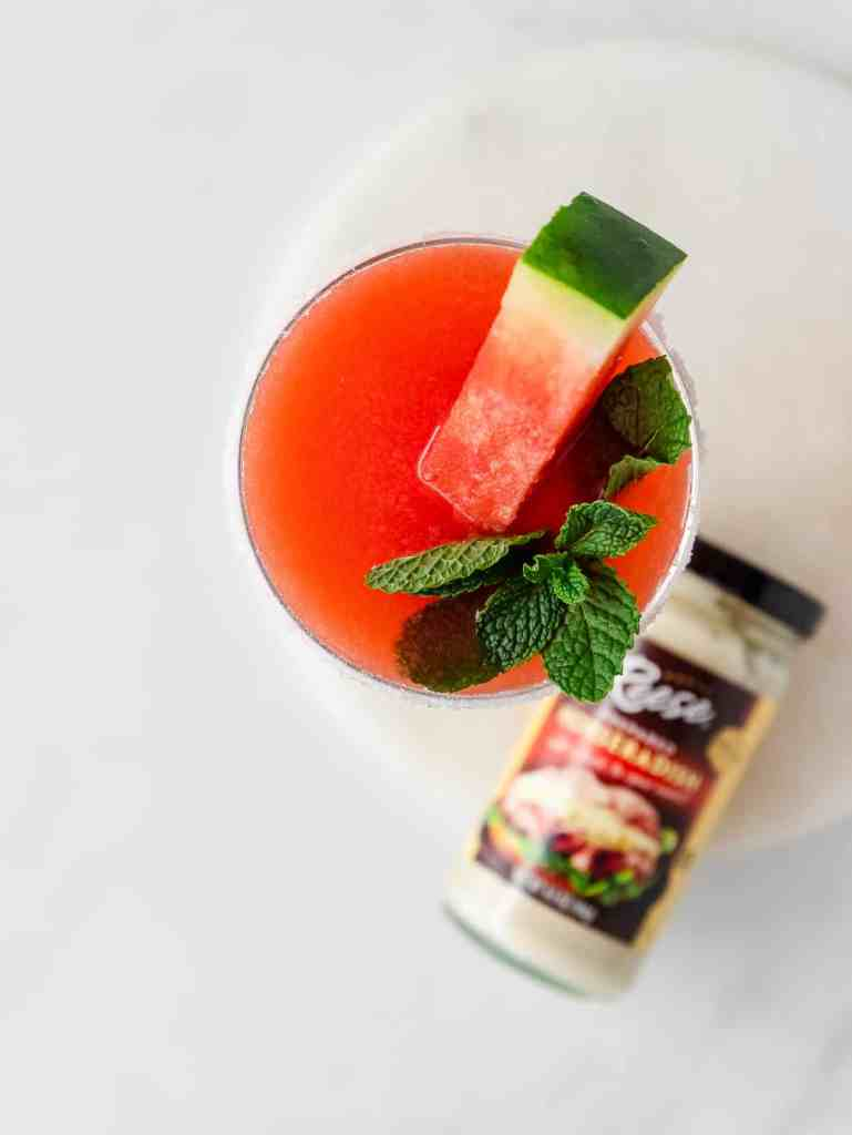 close up of a spicy watermelon cocktail
