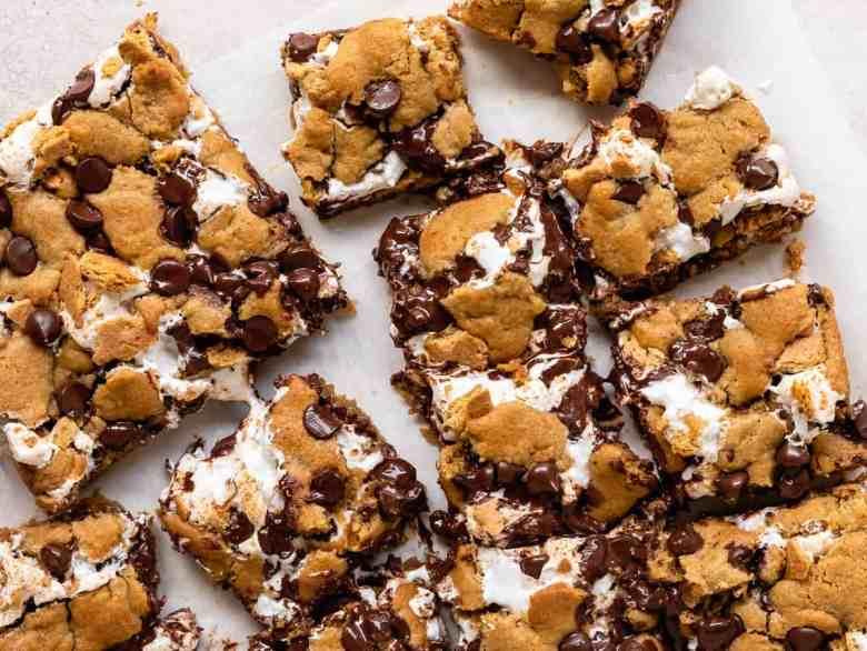 s'mores tahini cookie bars