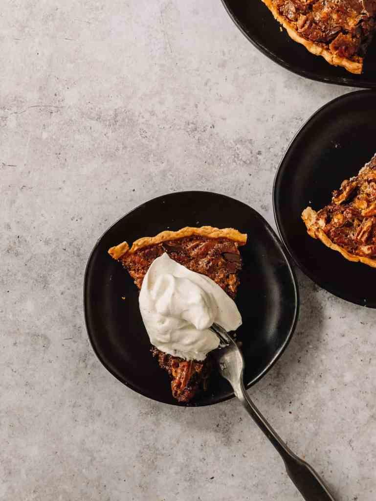 chocolate bourbon maple pecan tart