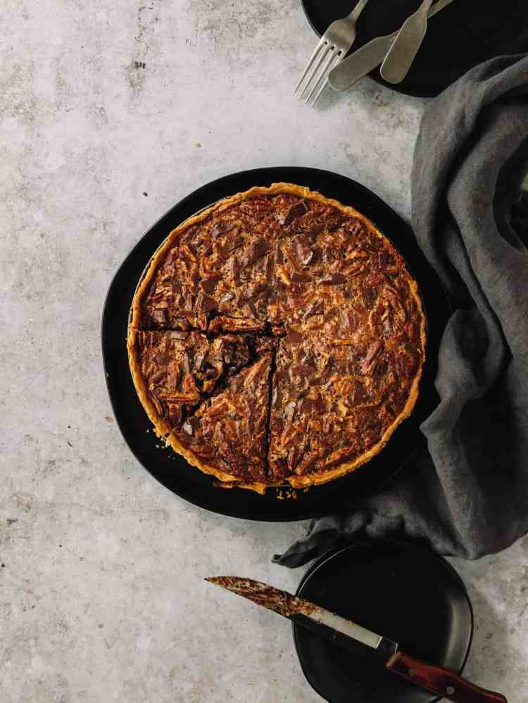 chocolate bourbon maple pecan tart