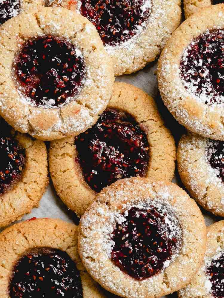 almond rye thumbprint cookies