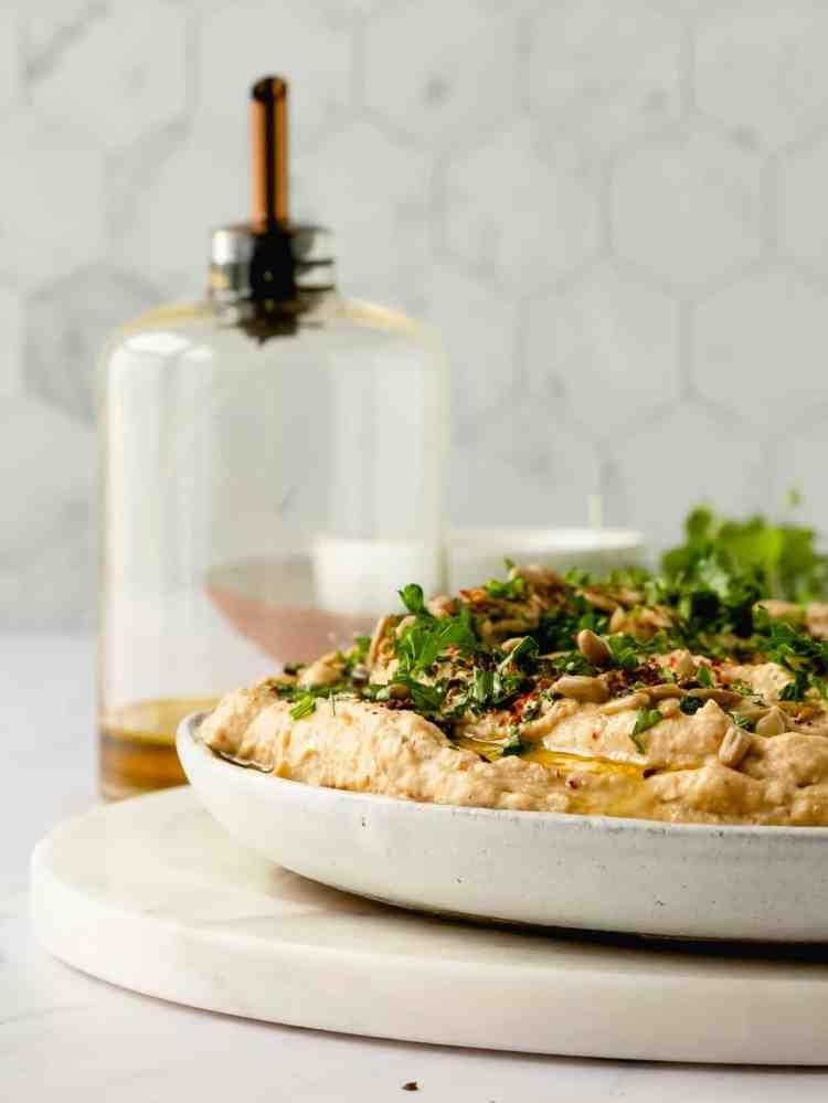 creamy tahini roasted cauliflower dip