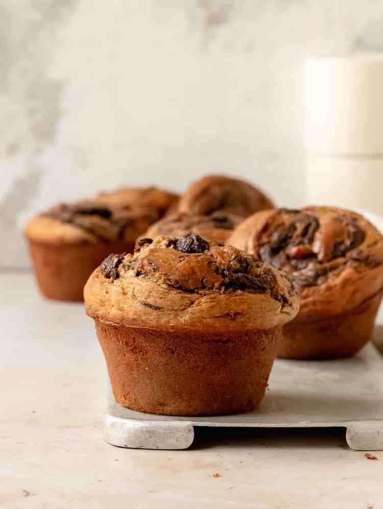 chocolate tahini swirl banana muffins