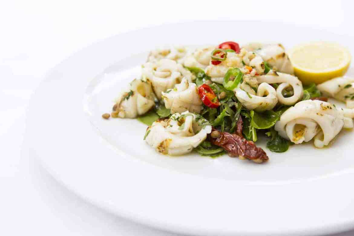Calamari ai Ferri grilled calamari in garlic & chilli with lentils & sundried tomato salad gf    -£12 (1)