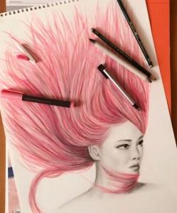 """""""Pink"""" Lápiz sobre papel Canson 150 grs tamaño A3"""