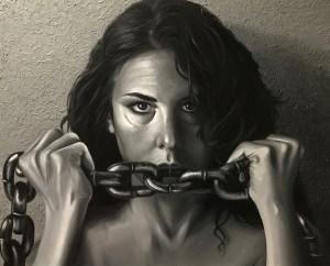 """""""Rompiendo Cadenas"""" IX Concurso Contra la Violencia de Género de La Nucia. Técnica mixta sobre lienzo de 65x81cm"""