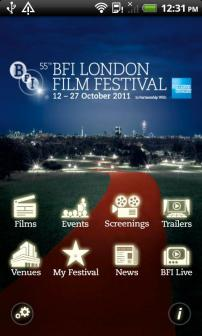 Homepage of BFI app
