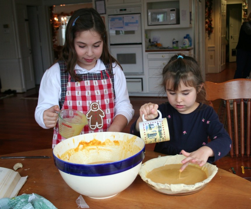 Olivia Gallucci baking with Ava during elementary school