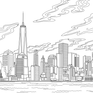 Coloring page, landmark, NYC, illustration by Olivia Linn
