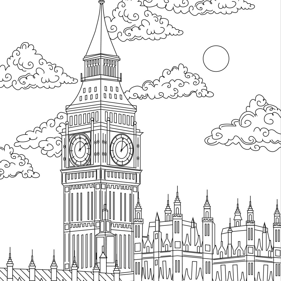 Coloring page, landmark, London, Big Ben, illustration by Olivia Linn