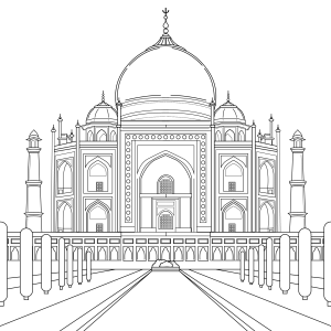 Coloring page, landmark, Taj_Mahal, illustration by Olivia Linn