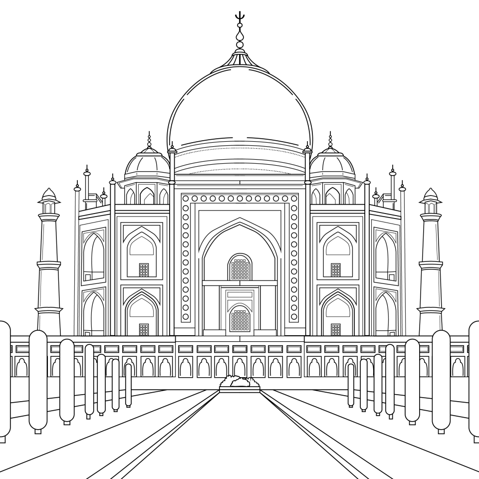 Coloring page, landmark, Taj_Mahal, illustration by Olivia Linn