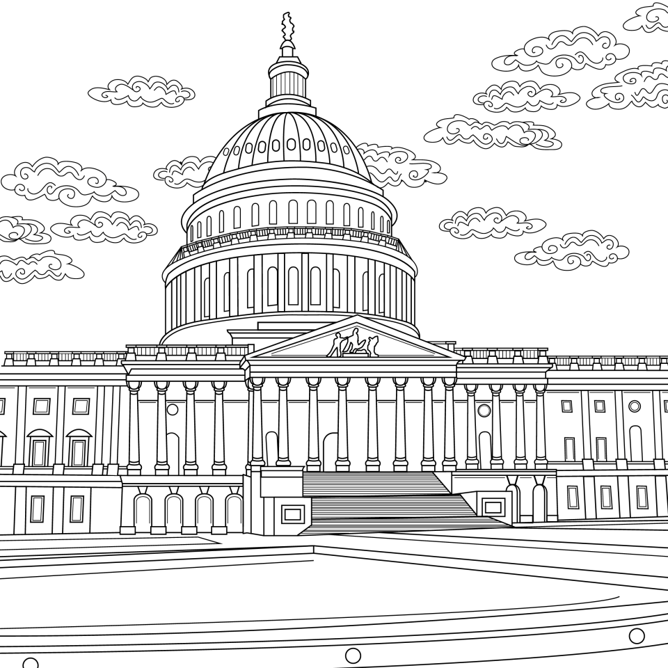 Coloring page, landmark, Capital, DC, illustration by Olivia Linn