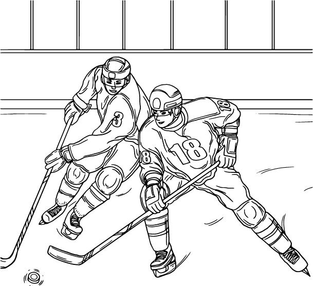 Ice Hockey, coloring page by Olivia Linn
