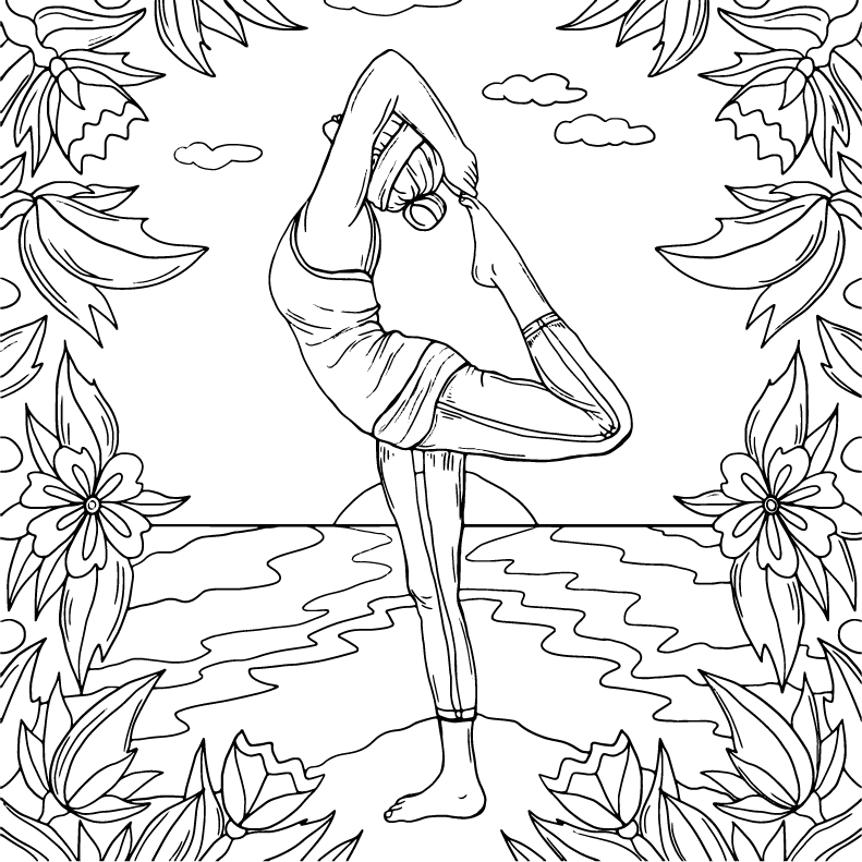 Yoga, coloring page by Olivia Linn