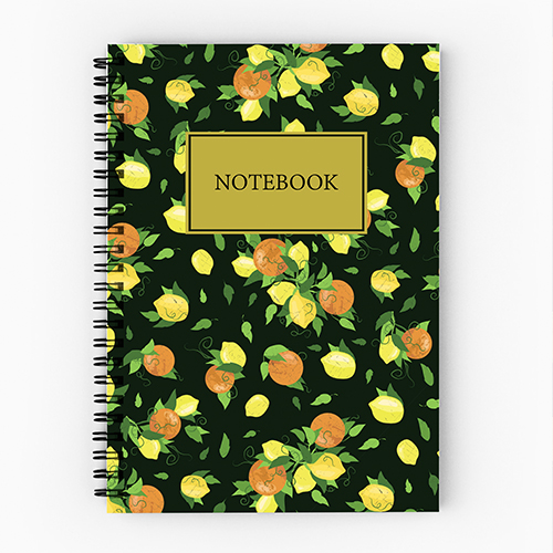 Notebook design by Olivia Linn, lemon pattern