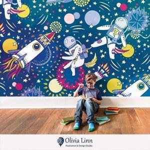 children's wallpaper, astronaut, space ship