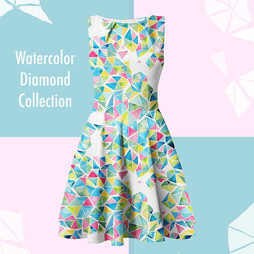 watercolor geometric pattern on dress, design by Olivia Linn
