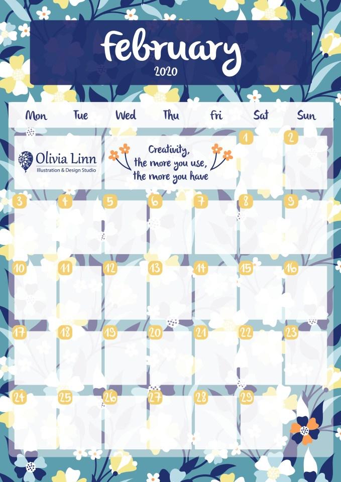free february calendar print out