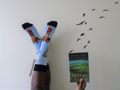 giraffe sockpanda socks with the word for world is forest birds flying
