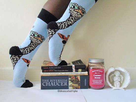 book stack and socks for december wrap up post on Olivia's Catastrophe