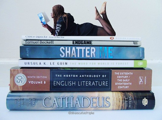 book stack with mini girl reading on top of it for january wrap up on Olivia's Catastrophe