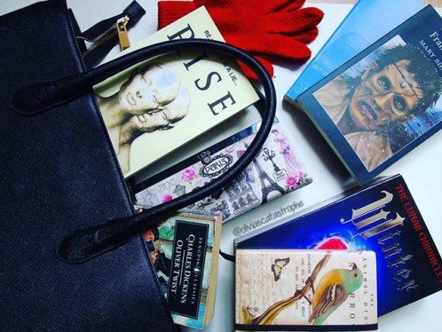 books in bag on Olivia's Catastrophe a book blog