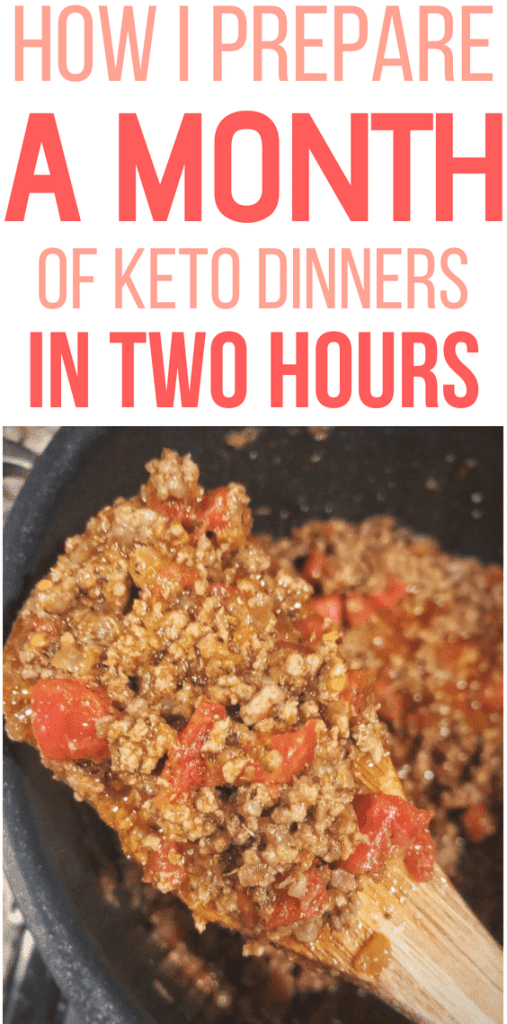 meal prep a month of keto dinners, chili, tomatoes, wooden spoon, large stovetop, cook pot