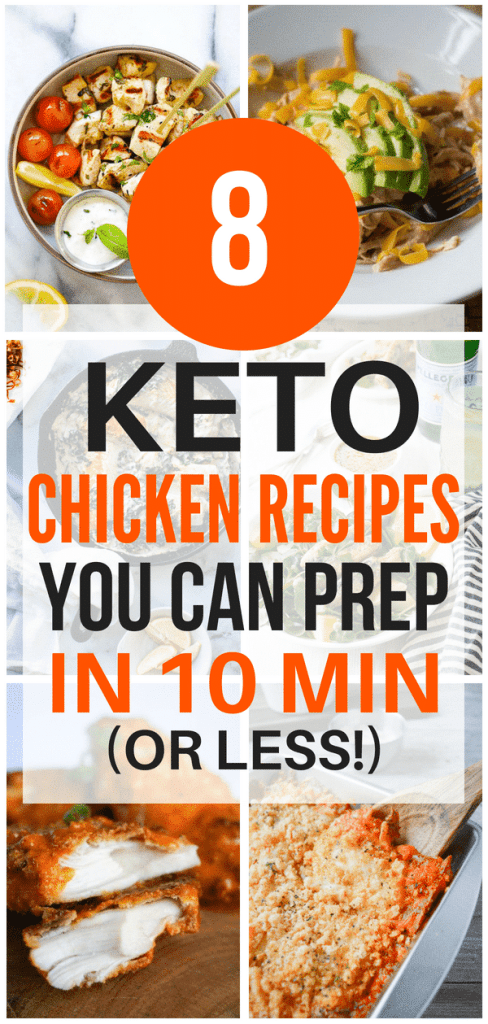 These keto chicken recipes are THE BEST! I'm so glad I found these new AWESOME ketogenic chicken recipes that only take 10 minutes to prepare! Now I have some great keto chicken dishes to eat on the keto diet. #ketodiet #ketogenicdiet #ketodietrecipes #ketogenicdietrecipes #ketodinner #ketochicken #ketoitalian #ketomediterranean #ketomexican #ketoasian