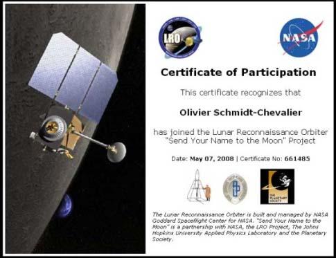 Certificat NASA-LRO