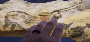 Mes doigts épousent, de loin, les formes magiques de la grotte de Lascaux