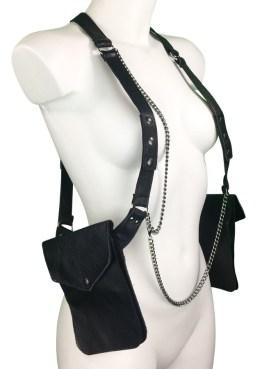Bag Superman - black leather, dark silver chain