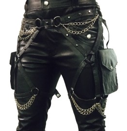 Belt Prodigy Two Bags - black leather, silver chain