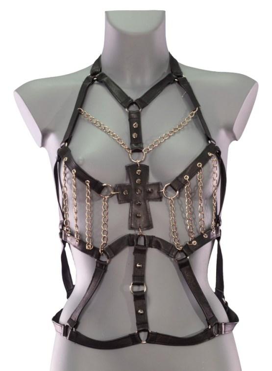 Harness Frankenstein - black leather, gold chain