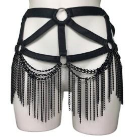 Belt Gaga - black leather, black chain