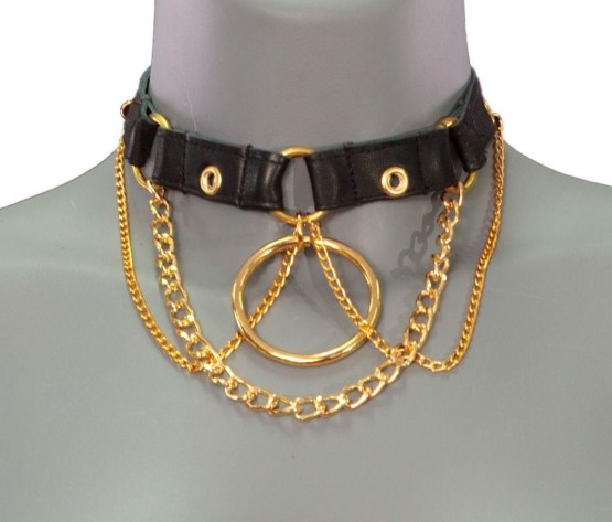 Necklace Berlin Central - black leather, gold chain