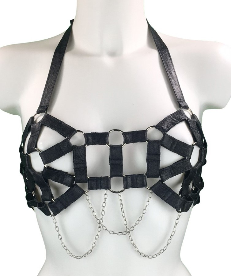 Bra Eva - black leather, silver chain